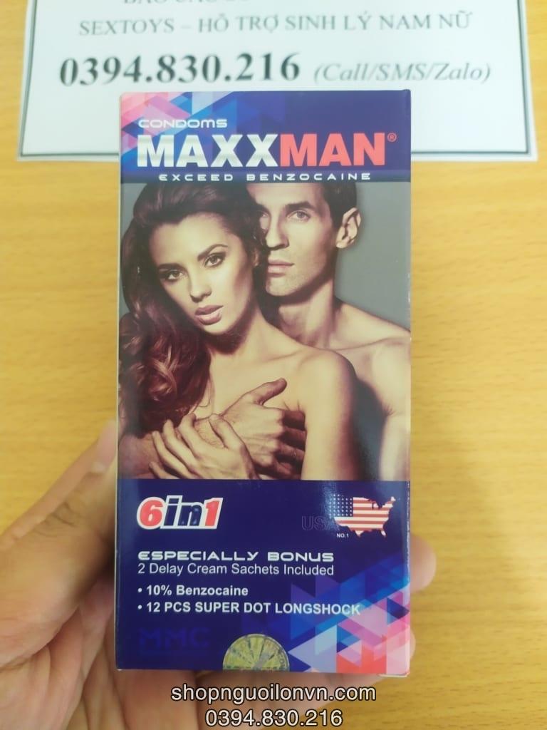 Bao cao su Maxman 6 in 1 cao cấp Mỹ mới ra mắt sẽ là sản phẩm siêu hot hiện nay hội tụ đủ các yếu tố cần thiết của một bcs như : Siêu gân gai, siêu mỏng, eo thắt chống tuột, hương dâu quyến rũ và hơn hết là chứa đến 10% chất Lidocain kéo dài thời gian quan hệ, 2 gói kem chống xuất tinh sớm. Thông tin chi tiết Hãng sản xuất:InnoLatex SDN.BHD – Malaysia theo công nghệ USA Quy cách hộp:12c Kích thước:52mm x 180mm Tiêu chuẩn:FDA, CE, ISO 474 shopthanhtung.com địa chỉ shop cửa hàng phân phối Bao cao su Maxman 6 in 1 cao cấp Mỹ.hàng chính hãng, giao nhanh tại Hải Phòng và 63 tỉnh thành, Cam Kết Chất Lượng Tốt Nhất, Giá Rẻ Nhất, tư vấn miễn phí. Tags: bao cao su maxman, bao cao su maxman hai phong, bao cao su maxman hải phòng, bcs hải phòng